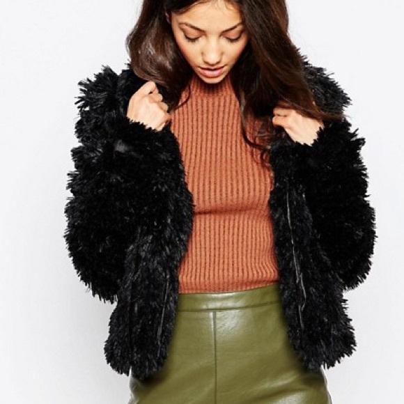 Greylin Jackets & Blazers - Greylin black faux fur coat blogger favorite